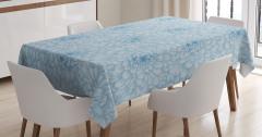Mavi Beyaz Masa Örtüsü Çiçekli Çeyizlik Şık Tasarım
