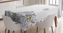 Beyaz Masa Örtüsü Bahar Temalı Çiçekli Şık Tasarım