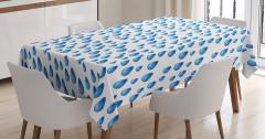 Yağmur Temalı Masa Örtüsü Mavi Damlalar Beyaz