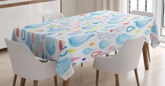 Rengarenk Su Damlacıkları Desenli Masa Örtüsü Beyaz