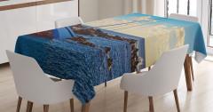 Deniz ve Yat Manzaralı Masa Örtüsü Mavi Kaya Gökyüzü