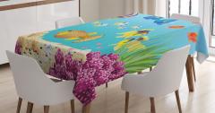 Su Altı Temalı Masa Örtüsü Rengarenk Balık Desenli