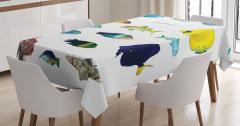 Rengarenk Balık Desenli Masa Örtüsü Şık Sarı Beyaz
