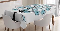 Balık Ağacı Desenli Masa Örtüsü Mavi Siyah Beyaz