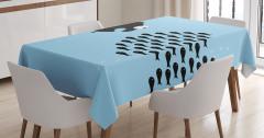 Balık Desenli Masa Örtüsü Mavi Siyah Şık Tasarım