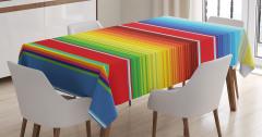 Rengarenk Çizgili Desenli Masa Örtüsü Şık Modern