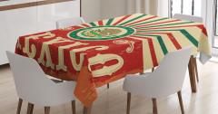 Meksika Bayrağı Desenli Masa Örtüsü Kırmızı Yeşil