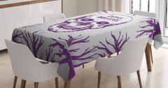 Mor Kuru Kafa ve Ağaç Desenli Masa Örtüsü Dekoratif