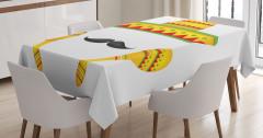 Sombrero ve Bıyık Desenli Masa Örtüsü Sarı Kırmızı