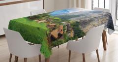 Yeşil Köy Dağ ve Güneş Temalı Masa Örtüsü Dekoratif