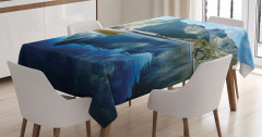 Tekne Göl ve Dağ Manzaralı Masa Örtüsü Şık Tasarım