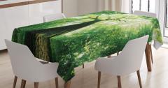 Gün Işığı ve Orman Manzaralı Masa Örtüsü Sarı Yeşil