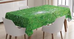 Yeşil Ağaç ve Güneş Temalı Masa Örtüsü Şık Dekoratif
