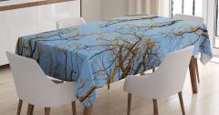 Dekoratif Ağaçlar Manzaralı Masa Örtüsü Sarı Mavi