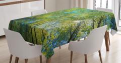 Orman ve Gökyüzü Temalı Masa Örtüsü Yeşil ve Sarı