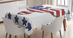 Şık Kartal Desenli Masa Örtüsü Kırmızı Mavi Beyaz