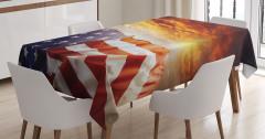 ABD Bayrağı Temalı Masa Örtüsü Sarı Turuncu Gökyüzü