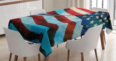 Dalgalanan ABD Bayrağı Desenli Masa Örtüsü Dekoratif