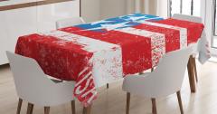 ABD Bayrağı Desenli Masa Örtüsü Şık Kırmızı Mavi