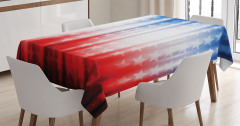 Şık Yıldız Desenli Masa Örtüsü Kırmızı Beyaz Mavi