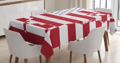 ABD Bayrağı ve Harita Desenli Masa Örtüsü Dekoratif