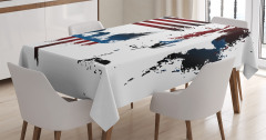 ABD Bayrağı Kartal ve Heykel Desenli Masa Örtüsü Şık