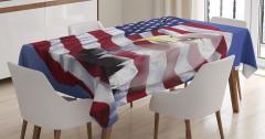 Kartal ve ABD Bayrağı Desenli Masa Örtüsü Bordo Mavi