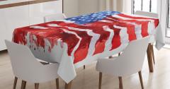Sulu Boya ABD Bayrağı Desenli Masa Örtüsü Kırmızı