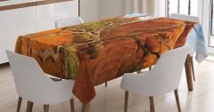 Monument Vadisi Manzaralı Masa Örtüsü Turuncu ABD