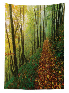 Doğada Yürüyüş Temalı Masa Örtüsü Sonbahar Orman