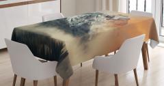Karlı Dağ Manzaralı Masa Örtüsü Gün Batımı Beyaz