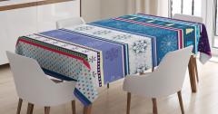 Kış Temalı Masa Örtüsü Kar Mavi Mor Şık Tasarım