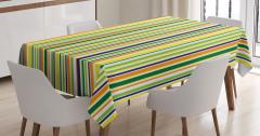 Masa Örtüsü Sarı Yeşil Turuncu Çizgili Şık Tasarım