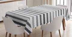 Gri Beyaz Çizgili Masa Örtüsü Şık Tasarım Trend