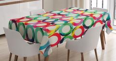 Rengarenk Daire Desenli Masa Örtüsü Yeşil Beyaz Şık
