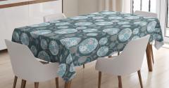 Çiçekli Daire Desenli Masa Örtüsü Çeyizlik Mavi Şık