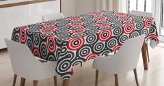 Daire Desenli Masa Örtüsü Kırmızı Siyah Beyaz Şık
