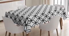 Siyah Beyaz Daire Desenli Masa Örtüsü Şık Tasarım