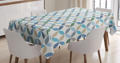 Daire Desenli Masa Örtüsü Mavi Yeşil Şık Tasarım