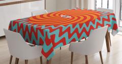 Hipnotize Edici Masa Örtüsü Kırmızı Turuncu Mavi