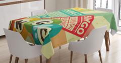 Tombala Desenli Masa Örtüsü Nostaljik Sarı Yeşil