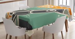 Retro Roket Afişi Temalı Masa Örtüsü Şık Tasarım