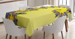 Denizatı Desenli Masa Örtüsü Sarı Mavi Şık Tasarım