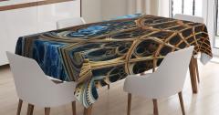 Fraktal Tasarımlı Masa Örtüsü Kahverengi Mavi 3D