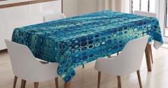 Nokta Desenli Masa Örtüsü Mavi Fraktal Şık Tasarım