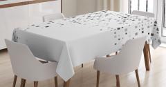 Kare Desenli Masa Örtüsü Geometrik Gri Beyaz Şık