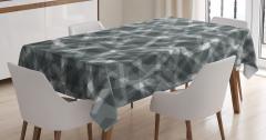 Geometrik Gri Desenli Masa Örtüsü Beyaz Şık Tasarım