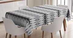 Geometrik Desenli Masa Örtüsü Beyaz Siyah Gri Şık