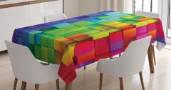Rengarenk Küp Desenli Masa Örtüsü Geometrik Şık