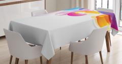 Damla ve Dalga Desenli Masa Örtüsü Rengarenk Şık